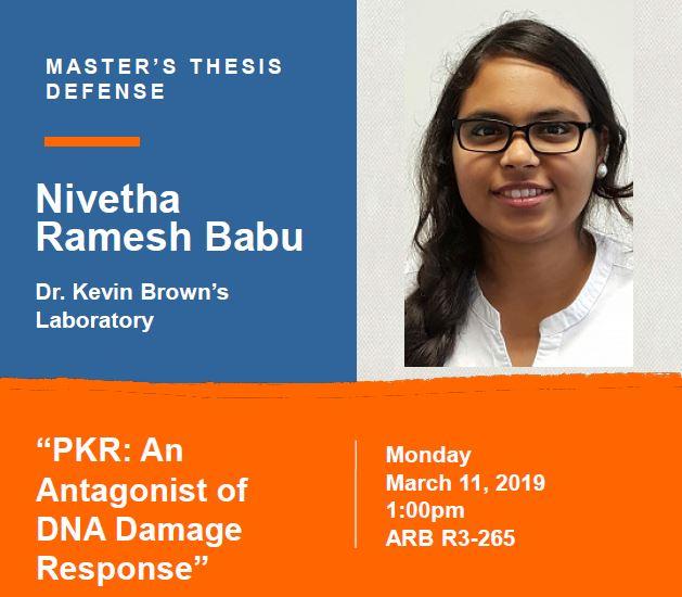 Nivetha Ramesh Babu Thesis Defense Announcement